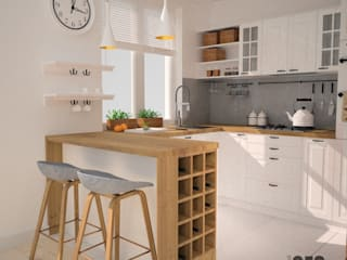 OES architekci Scandinavian style kitchen Wood White