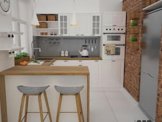 OES architekci Scandinavian style kitchen Bricks White