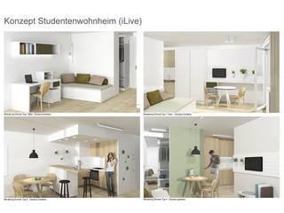 iLive - Wohnkonzepte für Studenten: moderne Schlafzimmer von interior.architects.munich