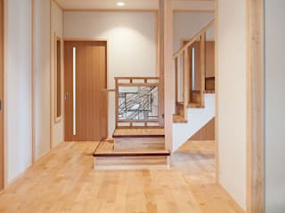 マルグラスデザインスタジオ Corridor, hallway & stairs Stairs Glass White