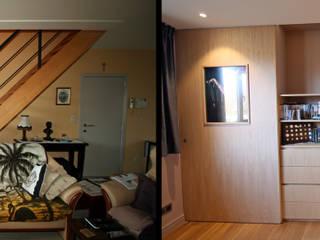 transformation créative d'un escalier Salon moderne par Sfeerontwerp   créateur d'atmosphère Moderne