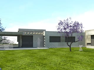 fachada back: Casas de estilo moderno por modulo cinco arquitectura