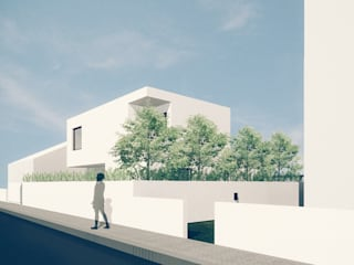 Casa em Fernão Ferro: Casas  por Tapada arquitectos,Moderno
