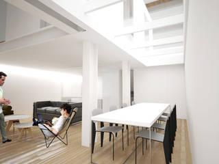 Maison L: Salle à manger de style  par Thibaudeau Architecte