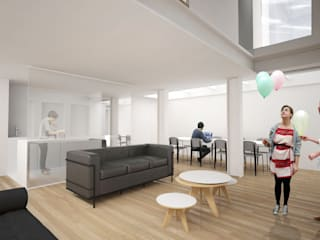 Maison L: Salon de style de style Minimaliste par Thibaudeau Architecte