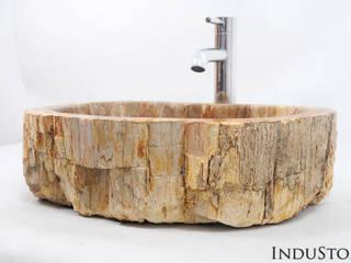 Umywalki kamienne i mozaika Fossil Wood od Industone.pl Eklektyczny