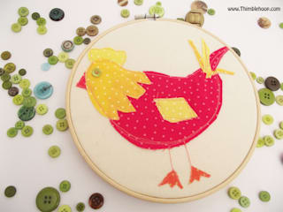 The Little red hen embroidery hoop art:   by Thimble Hoop