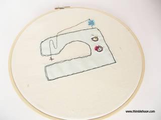 Green sewing machine embroidery hoop art:   by Thimble Hoop