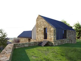 perspectiva 4 - Alçado lateral direito e alçado posterior: Casas  por Davide Domingues Arquitecto,Rústico Granito