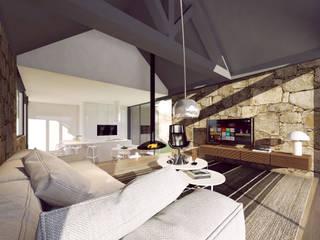 3d interior - vista da sala de estar para a cozinha: Salas de estar rústicas por Davide Domingues Arquitecto