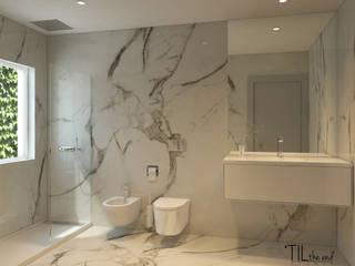 homify Nowoczesna łazienka Marmur Biały