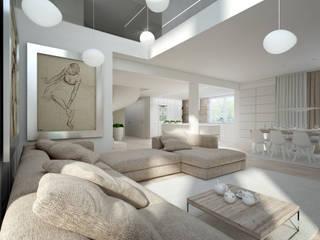 Monochromatyczne wnetrze z antresolą.: styl , w kategorii  zaprojektowany przez Concept