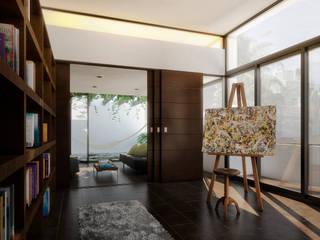 Couloir, entrée, escaliers minimalistes par TAQ arquitectura Minimaliste