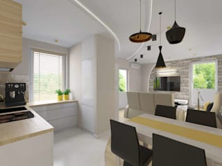 Salon połączony z kuchnią: styl , w kategorii Jadalnia zaprojektowany przez Bohema Design