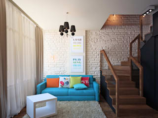 Tatyana Pichugina Design Eclectic style living room Bricks