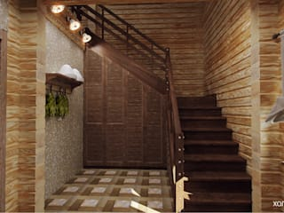 Country style corridor, hallway & stairs by Шамисова Анастасия Country