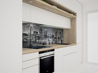 OES architekci Modern kitchen Wood White