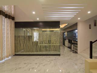 A TRIPLEX VILLA NEAR SUNCITY, HYDERABAD Modern living room by KREATIVE HOUSE Modern