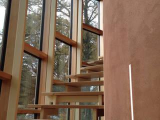 Une maison passive dans les bois, à Céroux-Mousty Couloir, entrée, escaliers modernes par Bureau d'Architectes Desmedt Purnelle Moderne