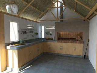Asador y mesada quincho: Cocinas de estilo moderno por Bessone Arquitectos