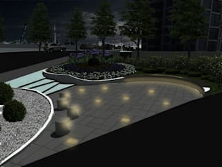 konseptDE Peyzaj Fidancılık Tic. Ltd. Şti. – Gece Görünümü:  tarz Bahçe