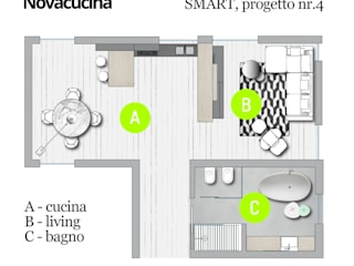 Pianta progetto SMART nr.4:  in stile  di Nova Cucina