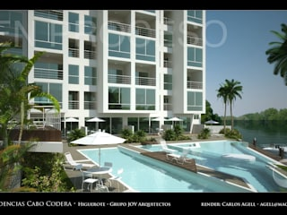Residencias Cabo Codera, Urbanización, Puerto Encantado, Higuerote, Municipio Brion, Edo. Miranda, Venezuela Piscinas de estilo minimalista de Grupo JOV Arquitectos Minimalista