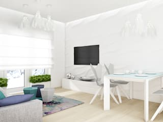 Mieszkanie, pow. 72 m2, Osiedle Pięciu Mostów, Gdańsk Eklektyczny salon od 3miasto design Eklektyczny