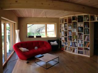 Maison passive en paille à Sombreffe Salon moderne par Bureau d'Architectes Desmedt Purnelle Moderne