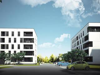 NOWE BLOKI W ŁOWICZU Minimalistyczne domy od PROSTO architekci Minimalistyczny