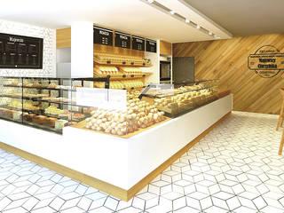 Wizualizacja 3D - projekt sklepu piekarniczego w Sochaczewie.: styl , w kategorii  zaprojektowany przez BenLER Kompleksowe Wyposażenie Gastronomii