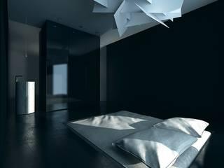 BLACK&WHITE Minimalistyczna sypialnia od PROSTO architekci Minimalistyczny