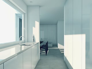 BLACK&WHITE Minimalistyczna kuchnia od PROSTO architekci Minimalistyczny