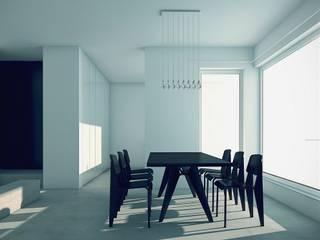 BLACK&WHITE Minimalistyczna jadalnia od PROSTO architekci Minimalistyczny