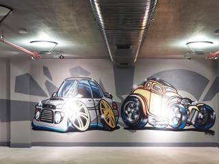Pimodek Mimari Tasarım - Uygulama – Duvarda Graffiti Çalışması:  tarz Garaj / Hangar