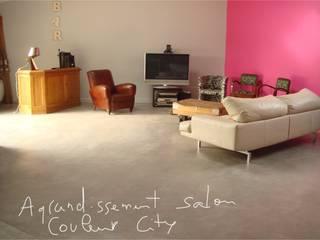 Sol, séjour, salon, salle à manger, béton ciré:  de style  par Artlily