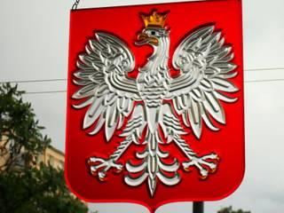 Witraż godło Polski: styl nowoczesne, w kategorii Okna i drzwi zaprojektowany przez GAWITR