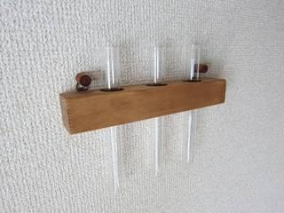 木の壁掛け三連一輪挿し-A: 作房和樂(サボウワラク)が手掛けたです。