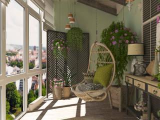 Mediterranean style balcony, veranda & terrace by Студия дизайна Дарьи Одарюк Mediterranean