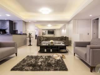 AP 11_Estar.Jantar.Churrasqueira Salas de estar modernas por América Arquitetura Moderno