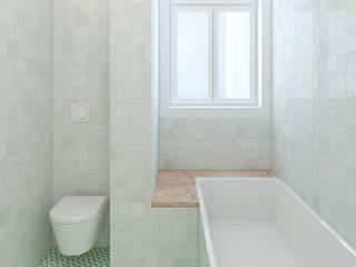 Remodelação de apartamento na Estrela, em Lisboa, de Aurora Arquitectos: Casas de banho  por AURORA ARQUITECTOS