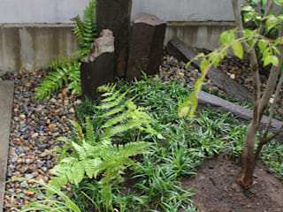 人工地盤上かつ30㎝幅の坪庭ー三鷹市井の頭の家- モダンな庭 の attic garden モダン