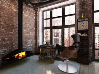 Salas de estilo industrial de Александра Клямурис Industrial