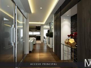 PROYECCIÓN 3D DE ESPACIO RECIBIDOR.: Pasillos y recibidores de estilo  por MIRARQ-CONSTRUCCIÓN