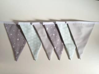 Guirlande fanions en tissu gris et vert eau - 6 fanions:  de style  par Cha'Home créations