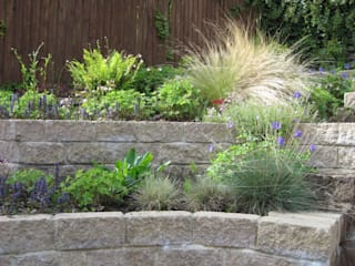 Steeply sloping rear garden - terraced solution de Mike Bradley Garden Design