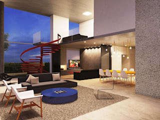 Michelle Machado Arquitetura Minimalist living room Multicolored