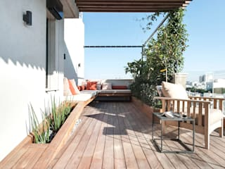toledano + architects minimalist style balcony, porch & terrace Wood