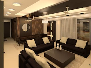 Interior Designs:  Living room by Newarch Design Consultants Pvt. Ltd