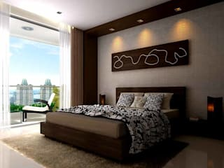 Interior designs:  Bedroom by Spacious Designs Architects  Pvt. Ltd.